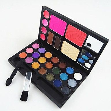 4in1 Makeup Cosmetic Palette with Mirror&Applicator Brush Set A(3 Blusher&2 Eyebrow Powder&4 Lip Gloss&21 EyeShadow) – USD $ 5.99