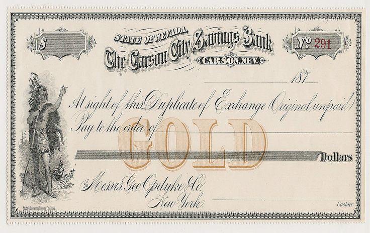 187 The Carson City Savings Bank Check Gold | eBay-SR