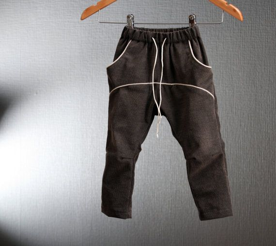 Toddler boys harem pants in brown light corduroy Comfortable handmade slouchie trousers with tight legs // size US 1-6 (EU 80-116)