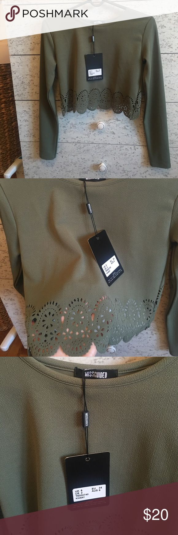 Green long sleeve crop top from misguided NWT Never worn. Crop top. Long sleeve from missguided. Tags still on. Missguided Tops Crop Tops