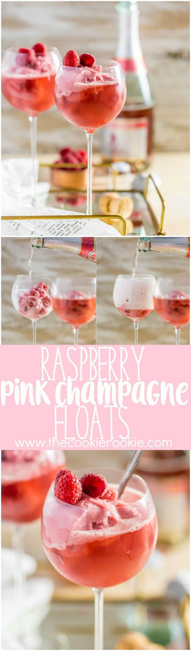 Raspberry Pink Champagne Floats, made with pink champagne and raspberry sorbet are the perfect Valentine's treat! Sorbet Mimosas are perfect for New Years Eve, Valentine's Day, baby showers, or wedding showers! Beautiful, EASY, and delicious!