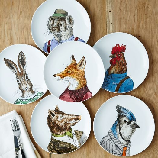 2 NEW DESIGNS! Our Dapper Animal Plates are based on paintings of real animals, which designer Rachel Kozlowski then dressed and accessorized to give characters all their own. Mix and match to create your own circle of forest friends.