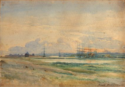 Aldrington Basin and Salt Daisy Lake. Watercolour by Brook Harrison. View across landscape of grass to a river with several ships. See also: http://brightonbits.blogspot.co.uk/2014/09/salt-daisy-lake-then-now.html