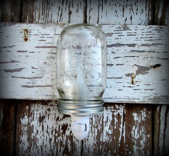 Clear Mason Ball Jar Rustic Night Light by CountryAkers on Etsy, $20.00