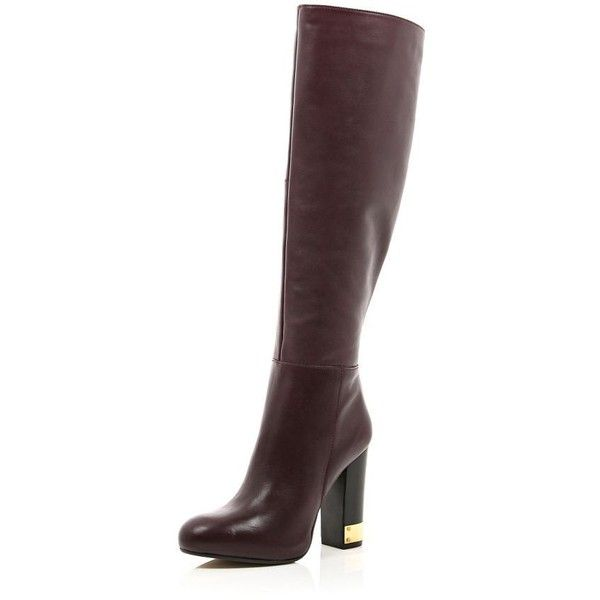 River Island Red leather knee high gold heel boots (£98) ❤ liked on Polyvore featuring shoes, boots, sale, red leather knee high boots, knee high boots, red boots, red knee high boots and gold boots