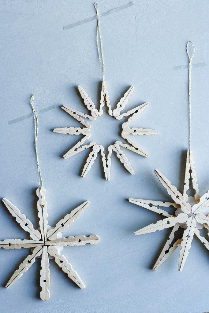 Weihnachtssterne Aus Holzklammern Basteln Pinterest
