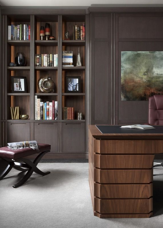 Smallbone's new handcrafted desk is carved from crown-cut walnut with a tactile in-laid leather top and polished nickel recessed trim
