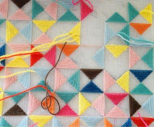 Triangle embroidery. Satin stitches