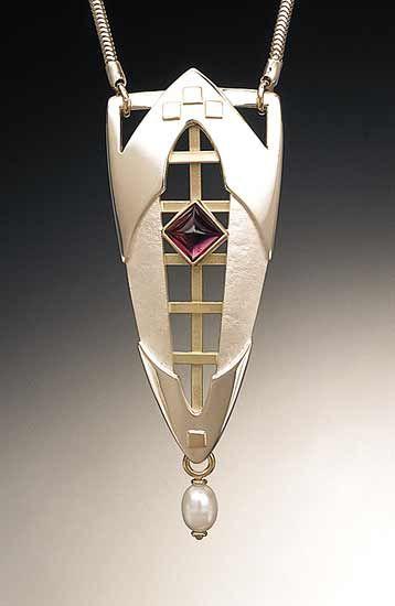 Gothic Lattice Necklace: Linda Smith: Silver, Pearl & Stone Necklace - Artful Home