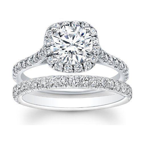 1.32 carat Round Brilliant Cut Diamond Halo Engagement Bridal Ring Set in 14k White Gold $2,699.00