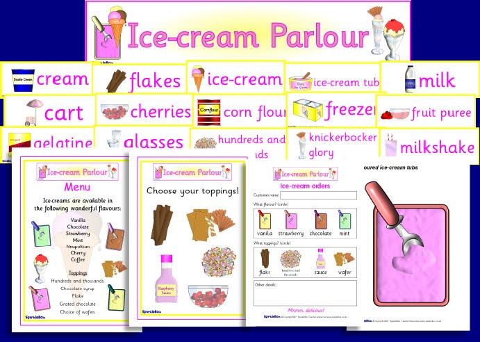 "Printable cards for Ice cream parlour role play. For extra vocab and amusement give the ice cream seller and and customer secret ""attitude"" cards (eg, grumpy, ecstatic, flirty, shy etc) which they can act out during the conversation."