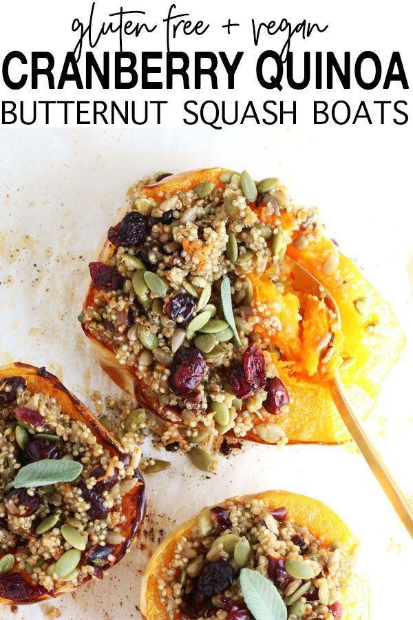 Cranberry Quinoa Butternut Squash Boats Gluten Free Vegan