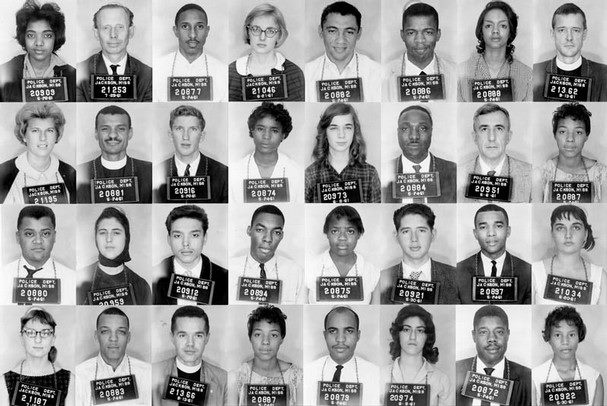 These are the mug shots of the Freedom Riders as they were arrested in 1961. Most of them were sent to the brutal Parchman Prison in Mississippi. These are only 32 of the 400 riders who fought for Freedom.