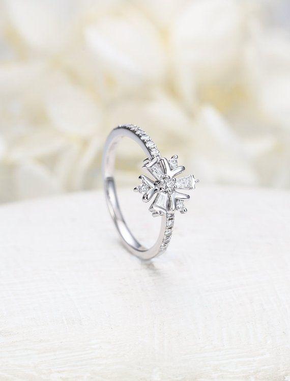 Unique Engagement Ring White Gold Vintage Baguette Diamond Cluster