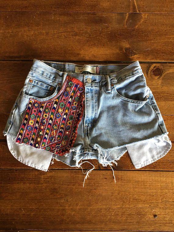 Vintage recyclés Levis 505 Banjara Bohème denim jeans Patch