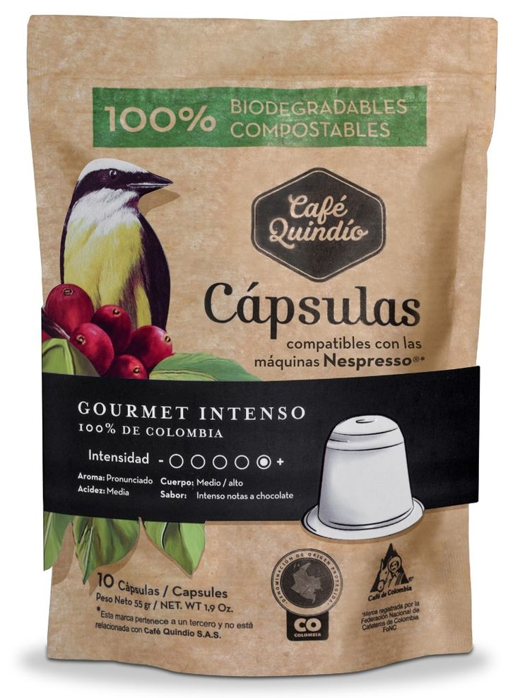 Café Quindío Gourmet Intenso- Coffee Capsules (Compatible with Nespresso) 100% Biodegradables.