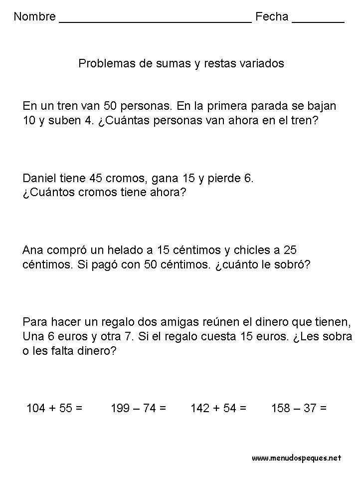 Problemas 17 Sumas Y Restas Problemas Matematicos Problemas