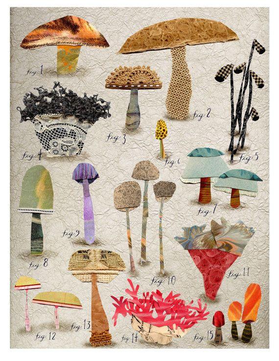 This is just beautiful! mixed media non edible mushroom botanical 1 by susanfarrington