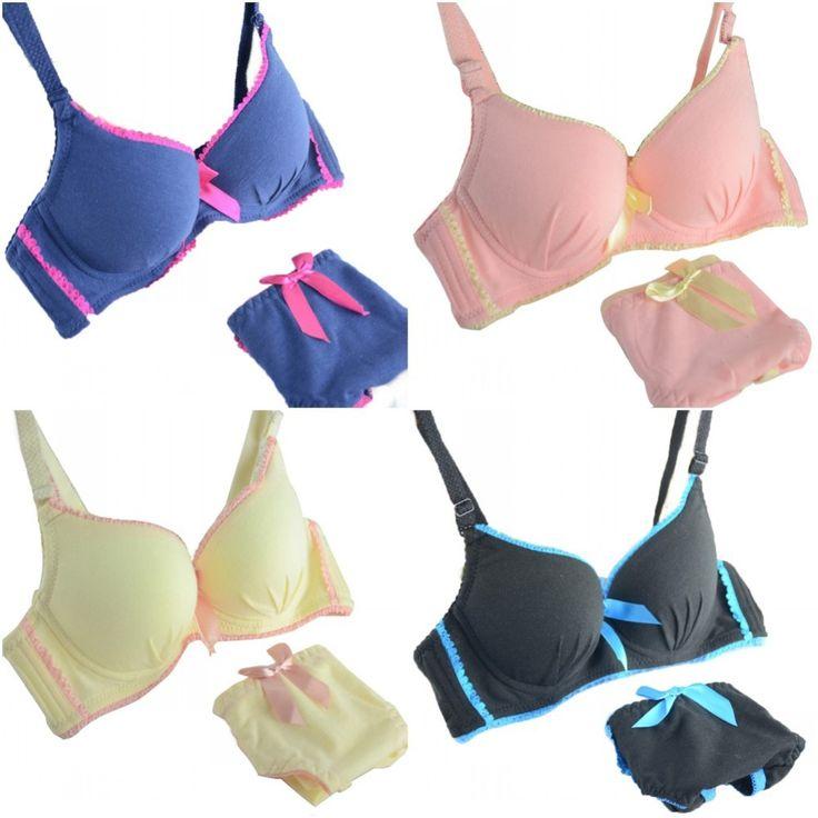 Women Sexy Solid Bra   Women /  Smooth Gather Bra Sets Girls Underwear Push Up Bra Set Corset Underpants Women