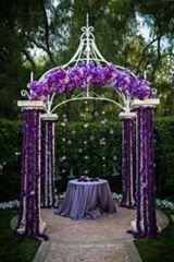 Mor düğün süslemeleri