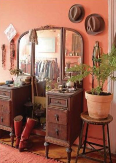 sarah ryhanen via design sponge. i love the idea of this color with this antique vanity/dresser. the colors together channel a John Fante novel set in Los Angeles.