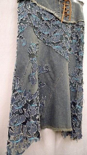 reconstructed denim skirt with lace