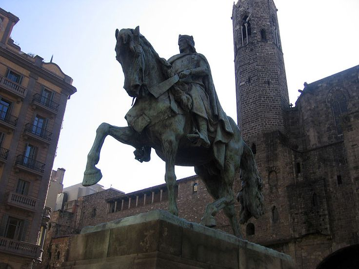 This statue is of Ramon Berenguer III, Count of Barcelona. It is located in El Born, Barcelona. Berenguer III's greatest legacies include raiding Muslims territories and setting Christian slaves free. He looks powerful and strong here with an upright poster uptop a strong horse.