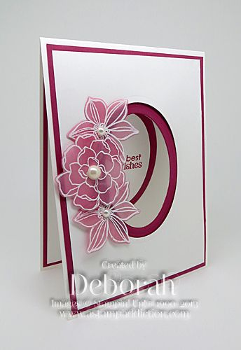 handmade card ... Secret Garden By Deb ... porthole design ... luv the vellum flowers with sponged color on the back .. pretty card ... Stampin' Up!