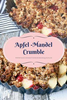 Rezept für ein köstliches Crumble mit Apfeln und Mandeln. Glutenfrei. Ohne Mehl. Apfel Crumble. Mandel Crumble. Dazu kann man wunderbar Parfait oder Eis essen. Mehr Rezepte und Dessers findet ihr auf www.naschenmitdererdbeerqueen.de