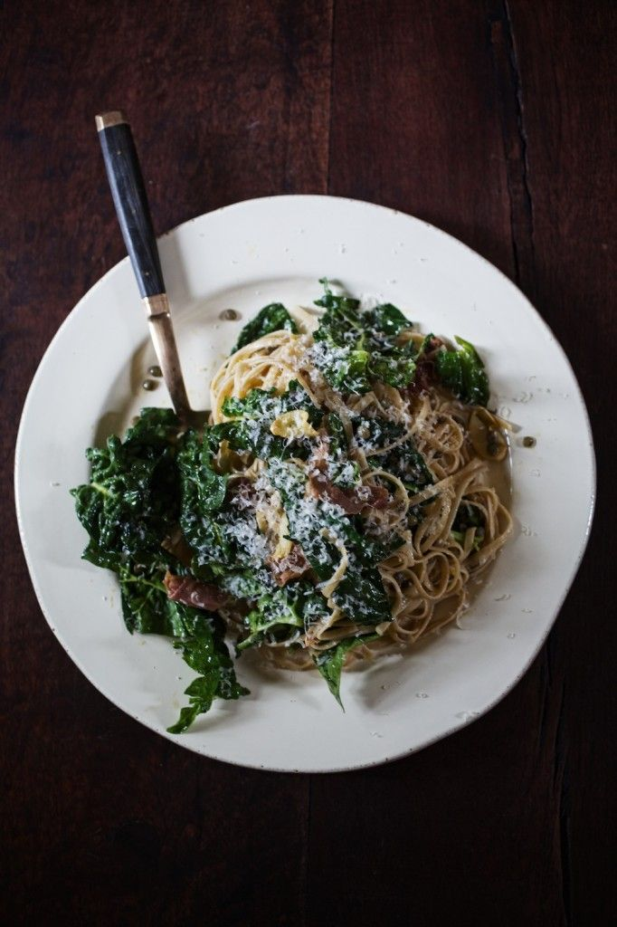 Linguine with Pancetta, French Lentils & Greens.  ( For gluten free, use gluten free pasta.)