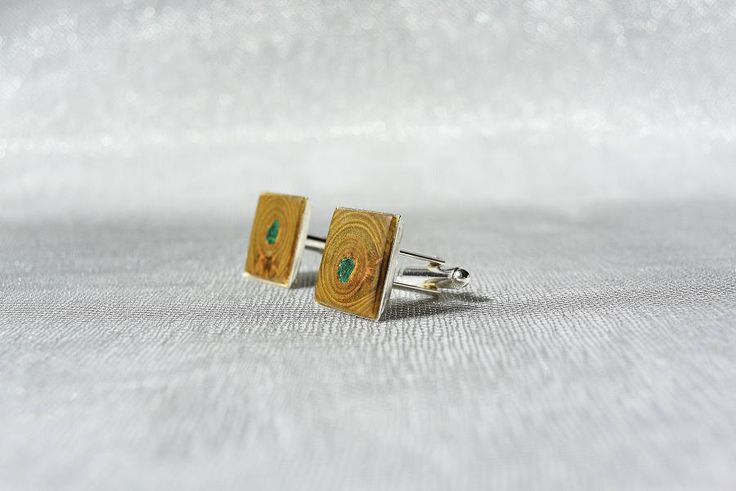 Cufflinks from sumac tree and malachite, wooden cufflinks, wooden cufflinks with malachite inlay by Mazunii on Etsy