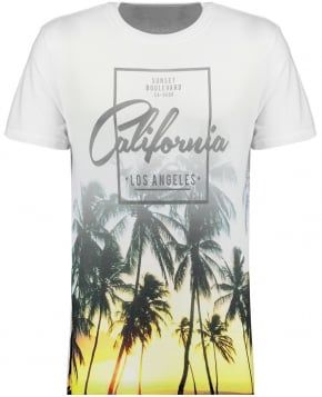 Mens Grey Sunset Boulevard California Palm T-shirt