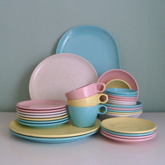 Oh my!! We had these when I was a little girl.♥  Melamine Pastel Confetti Dish Set in Easter Colors - Pink, Blue, Yellow, White Imperial Ware.