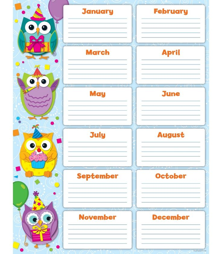 7 best birthday chart images on Pinterest Classroom decor - classroom calendar template