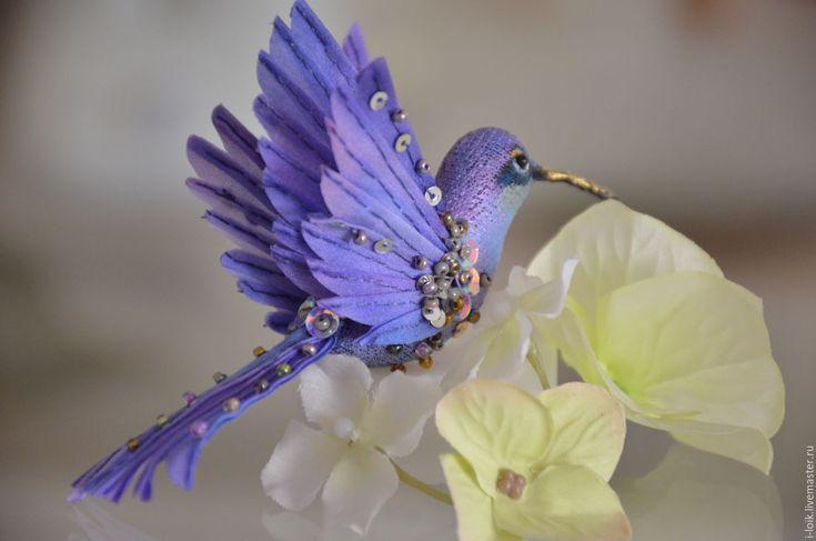 Купить Брошь сиреневая колибри-бабочка - сиреневый, птичка, колибри, интерьерная игрушка, интерьерное украшение
