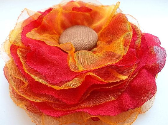 Orange flower brooch organza red veil and brown by CrystalHandmade, $14.00