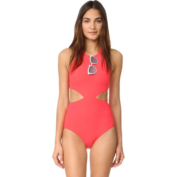 Flagpole Lynn One Piece (505 CAD) ❤ liked on Polyvore featuring swimwear, one-piece swimsuits, watermelon, halter bathing suit, cutout one-piece swimwear, shelf bra, one piece cutout bathing suit and cut-out one piece swimsuits