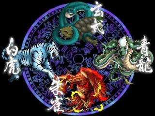 Las Cuatro Bestias Sagradas de la mitología China, son las mismas que en la mitología japonesa solo que se le añade al dragón dorado.