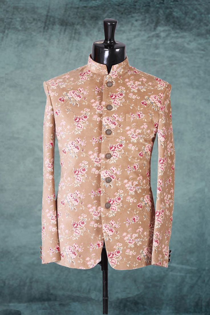 #Peach #velvet grand #prince #style #suit with #mandarin #collar makes the wearer look #amazing and makes you stand out in the #crowd, this suit can be worn by all #ages and in all #occasions