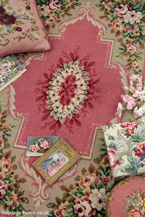 Vintage Home Pink Roses Woven Wool Rug