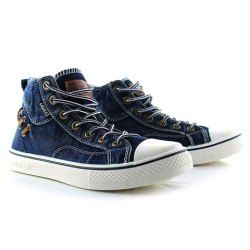 Retro Style Men's Canvas Shoes With Splice and Lace-Up Design - Sammydress