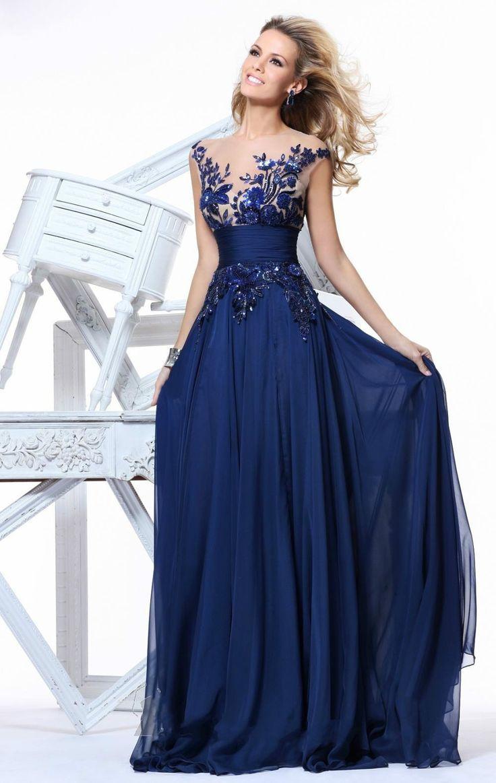 Vestido de Festa 2015 Zarif Bir Çizgi Cap Kollu Mavi Şifon Gelinlik Modelleri Uzun Balo Elbise - http://www.geceelbisesi.com/products/vestido-de-festa-2015-zarif-bir-cizgi-cap-kollu-mavi-sifon-gelinlik-modelleri-uzun-balo-elbise/