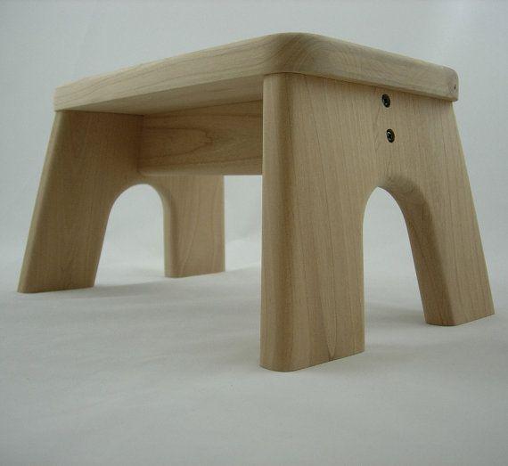 Unfinished, Step Stool, Wooden, Wood, Alder, Children, Tip-Resistant, Stepstools by LaffyDaffy on Etsy