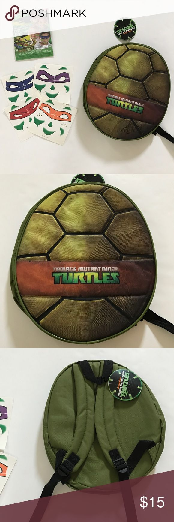 New With Tags Nickelodeon Ninja Turtles School Bag Fun Bundle for Back To School! Four Ninja Turtle Face Mask tattoos included! Brand new nickelodeon backpack with tags! Super cute ninja turtle shell. Perfect size for books!  *SMOKE FREE AND PET FREE HOME  *Extremely quick shipping   *Thank you for your support! Nickelodeon Accessories Bags