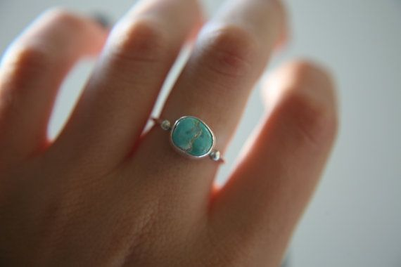 Size 6.5 · Turquoise Stacker · Sterling Silver · Carico Lake Turquoise · Handmade Ring