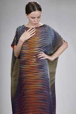Issey Miyake | calf-length dress in polyester baked-stretch plissé with multicolored horizontal and diagonal lines | #isseymiyake