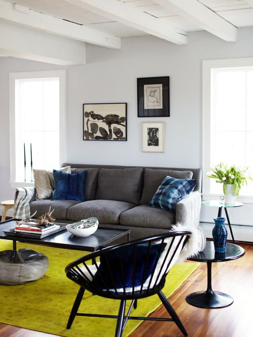 blue and chartreuse living room from a stylists life