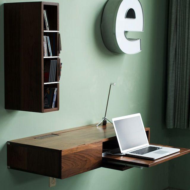 Floating desk in wall