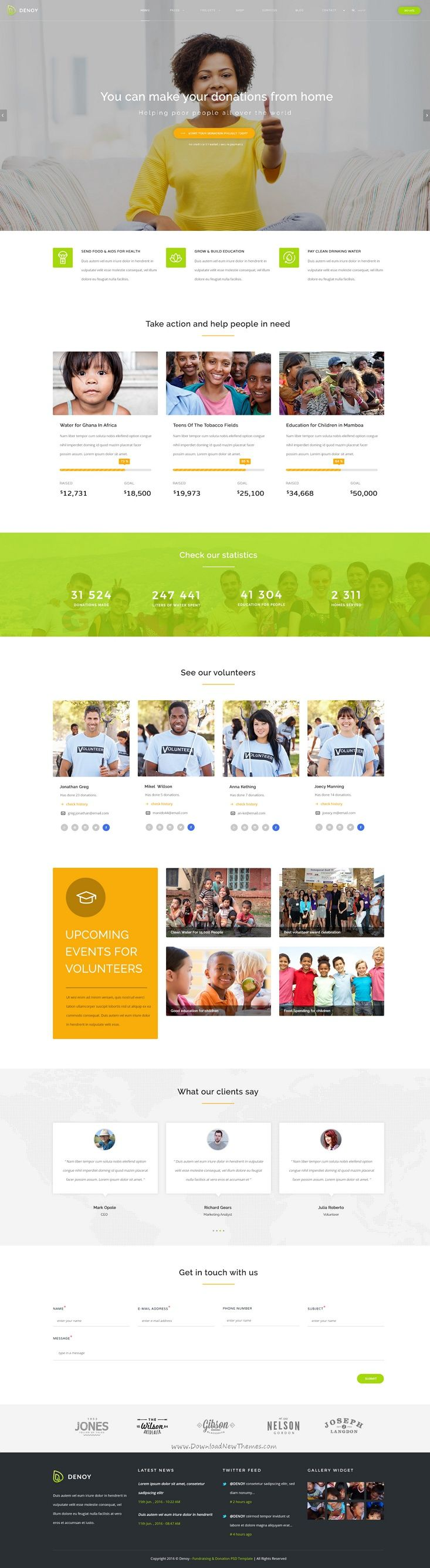 Denoy is perfect #Photoshop #theme for charity, #NGO, non-profit #organization, donation, crowdfunding, church or a fundraising website download now➩ https://themeforest.net/item/denoy-fundraising-donation-psd-template/17126652?ref=Datasata