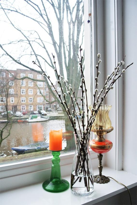 My Attic, The Colorful Home of Joost  Martijn. Typisch voorjaar! Katjes in de vensterbank.